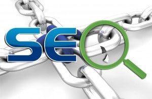 Image of text saying SEO over a chain link