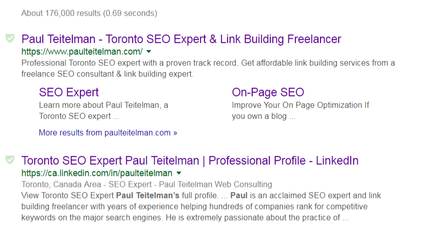 Google search result snippets screenshot for Paul Teitelman search