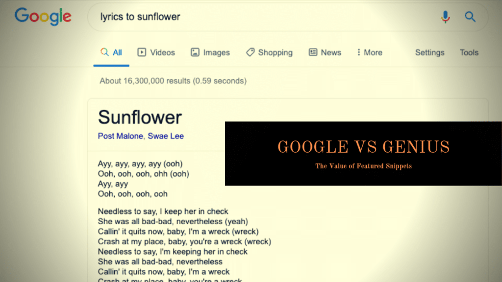 Google vs Genius: The Value of Featured Snippets