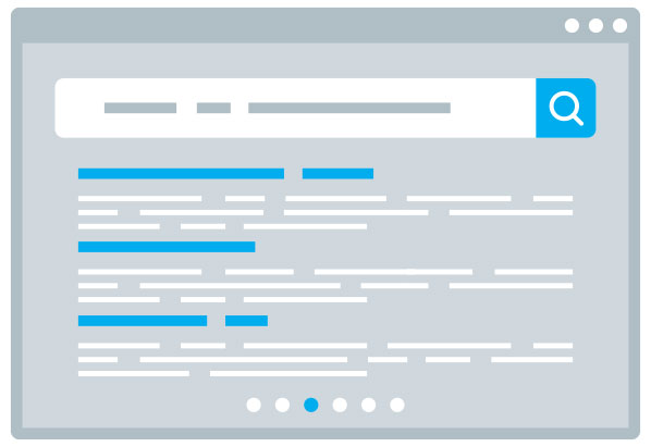 Image of a web page with a search box and lines of text under with some keywords highlighted in blue