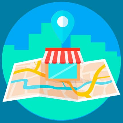 Image of a map with a store on it