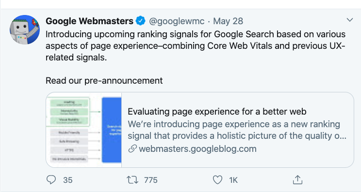 Image of tweet by Google Webmasters (@googlewmc) saying that Core Web Vitals will become a ranking signal