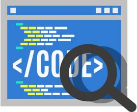 "Illustration of a web page in blue with lines of small blocks to represent code. In the middle is big text that reads ""</CODE>"" and a magnifying glass hovers over the page."