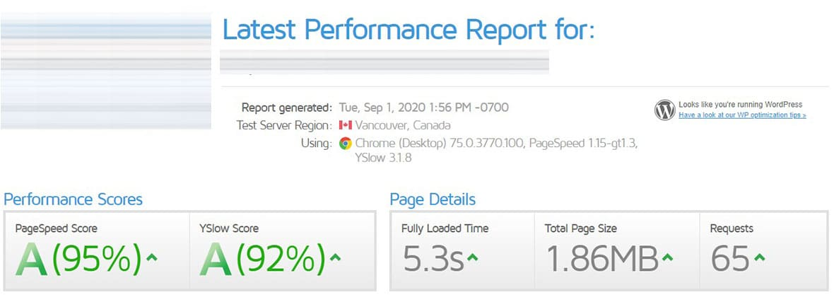 After Site Speed Optimization - Site 3a