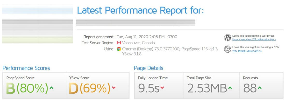 Before Site Speed Optimization - Site 2a