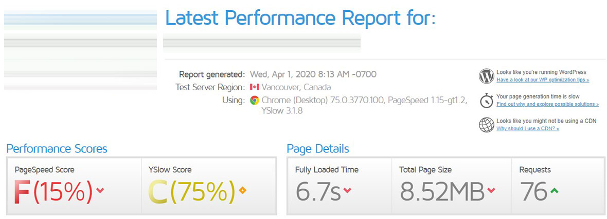 Before Site Speed Optimization - Site