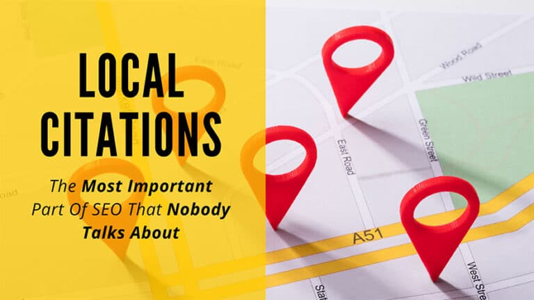 Banner with the text 'Local Citations: The Most Important Part Of SEO That Nobody Talks About' behind is image of a map with 3 markers